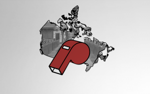 Outline of Canada with illustrated whistle on top