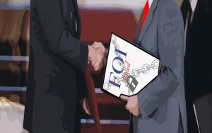 "Illustration of two men in suits shaking hands, one of them holding a document ""FOI: denied"""