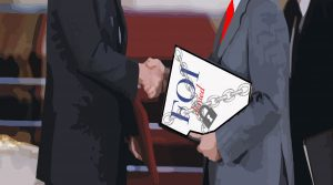 """Illustration of two men in suits shaking hands, one of them holding a document """"FOI: denied"""""""