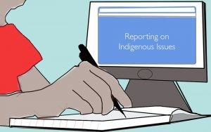Illustration of a computer screen reading 'Reporting on Indigenous Issues.' (Annie Arnone/RRJ)