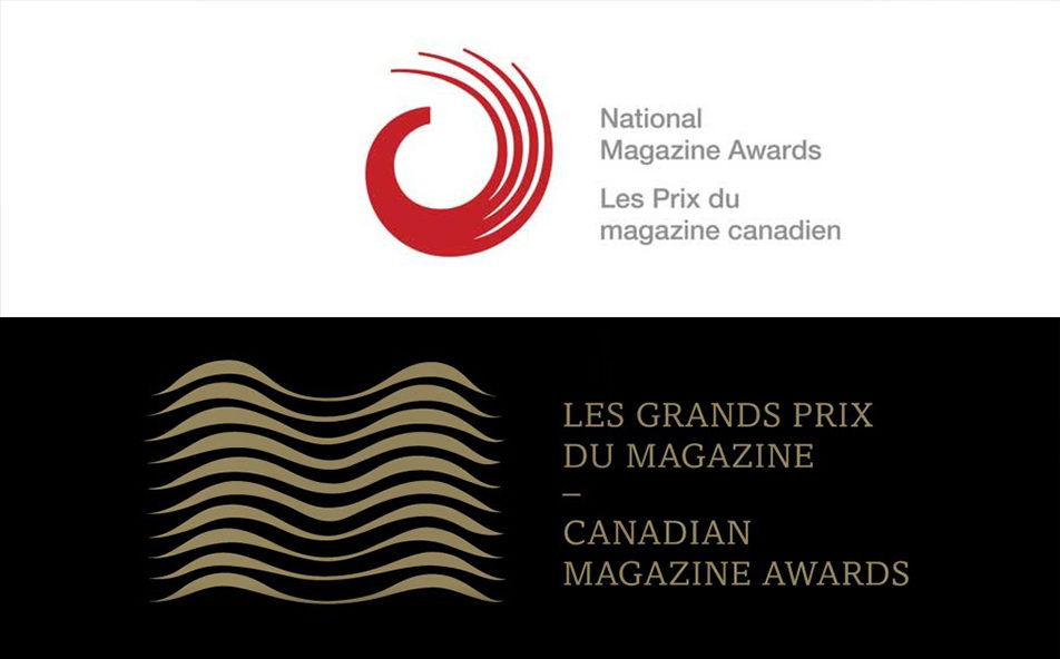 Logos for the National Magazine Awards and Magazine Grands Prix, two awards programs merging into one.