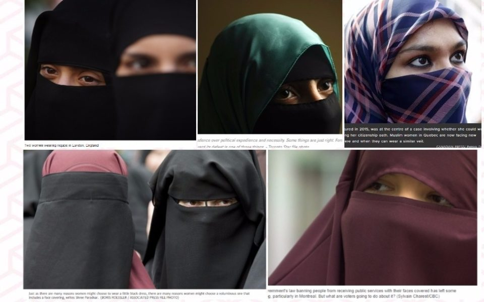 Canadian news outlets used stock images of women in niqab in their stories on Bill 62.