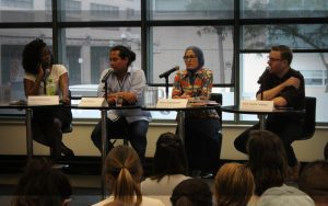 """Vicky Mochama, Jorge Barrera, Amira Elghawaby and Nick Taylor-Vaisey discussing the importance of diversity in journalism at the panel, """"Activist, advocate, columnist, reporter: Where's the line?"""""""