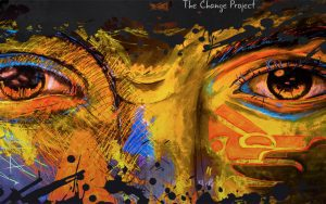 """Colourful artwork of eyes and part of face and """"The Change Project"""""""