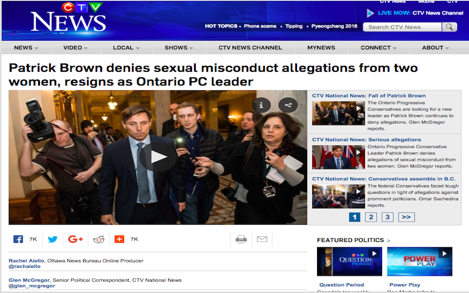 A screenshot of CTV's story about sexual assault allegations against Patrick Brown, which touched off a series of resignations and firings in January. (Screenshot/CTV News)