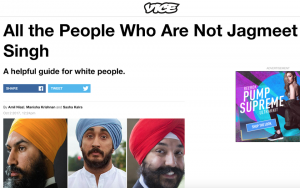 "A screengrab from Vice's website with the headline ""All the People Who Are Not Jagmeet Singh"""
