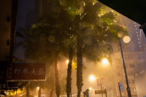 A street in Hong Kong during a storm