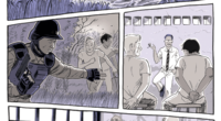 A comic book graphic of two men walking across river, then being pulled aside by a National Guard, then being detained and questioned. The last strip shows the two men sitting in a jail cell with another man.