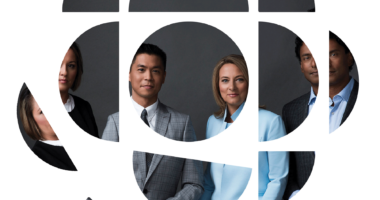 CBC logo with the faces of four reporters in it