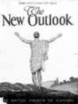 Cover page of The New Outlook depicting a man standing with his back to the camera and his arms raised
