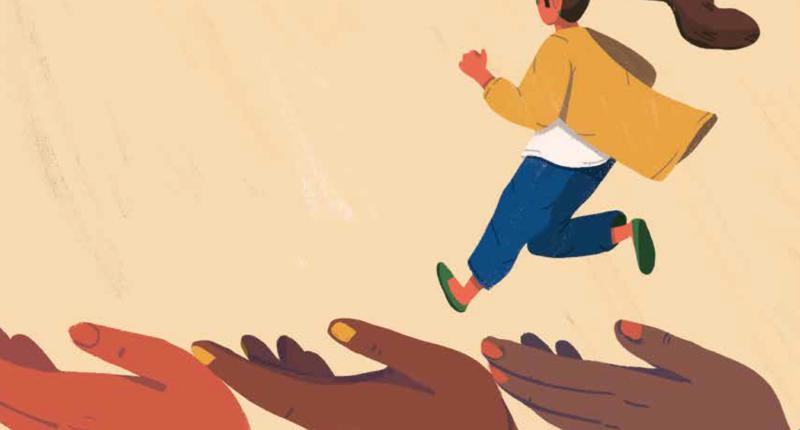 Illustration of woman running over three hands