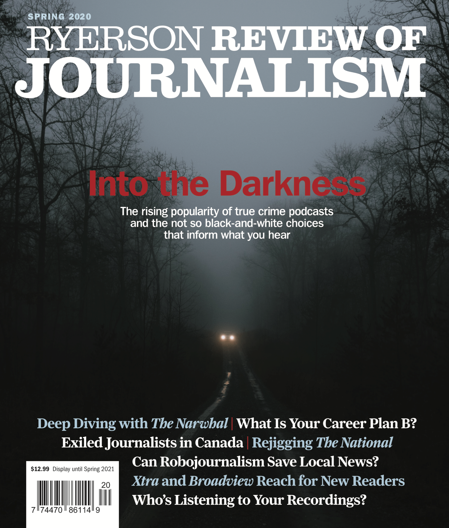 Ryerson Review of Journalism Spring 2020 magazine cover