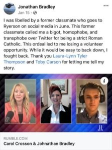 """Jonathan Bradley tweet stating """"I was libelled by a former classmate who goes to Ryerson on Social Media"""""""