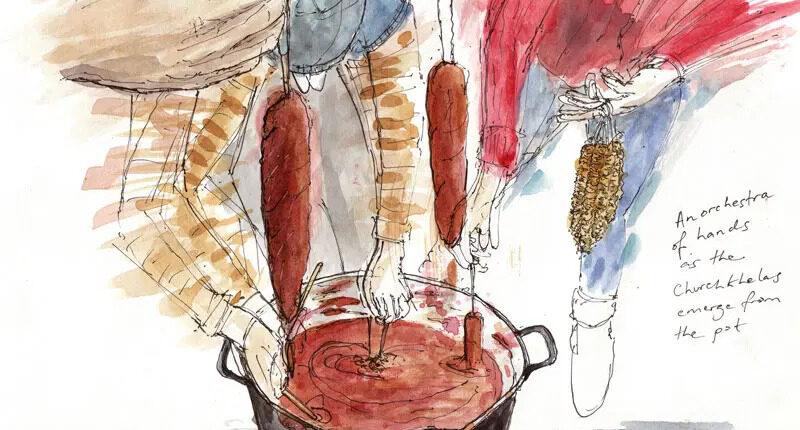Making the Worlds oldest energy bar by Andrew North, a sketch drawing with a pot and hand stirring.