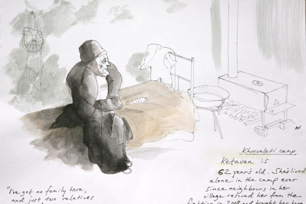 Andrew North sketch drawing of an older woman sitting on a bed