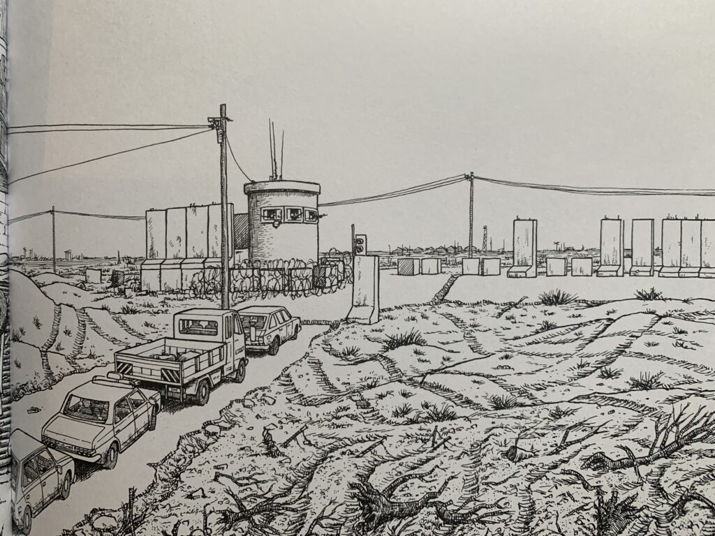 Joe Sacco sketch drawing of trucks driving along dirt road with an observation tower.
