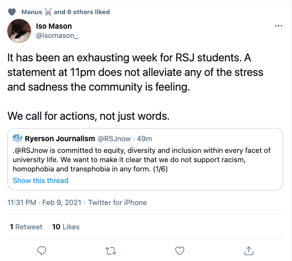 "A Twitter reply to the RSJ statement from user @isomason_. It reads, ""It has been an exhausting week for RSJ students. A statement at 11pm does alleviate any of the stress and sadness the community is feeling."""
