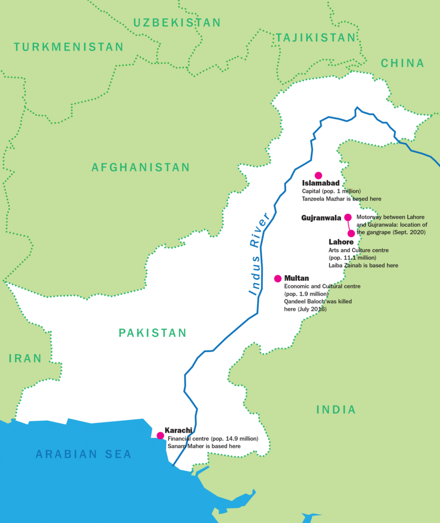 A map highlighting Pakistan and some of it's key regions including, Karachi, Multan, Gujranwala, Lahore and Islamabad