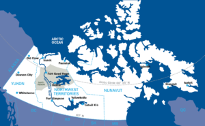 A map of northern Canada with a focus on the Yukon, Northwest Territories and Nunavut