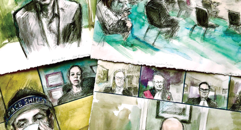 Four illustrations of court sketches drawn by Pam Davies