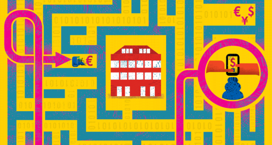 Illustration of a maze showing various points on the map