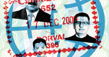 Passport photos of three men with a Canada Customs stamp over top