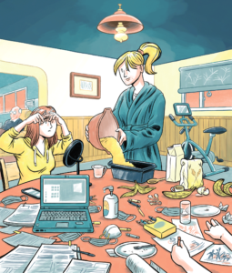 Illustrattion of a woman pouring batter into a pan, a teenager doing her make and a child colouring at a messy kitchen table. An exercise bike sits in the background